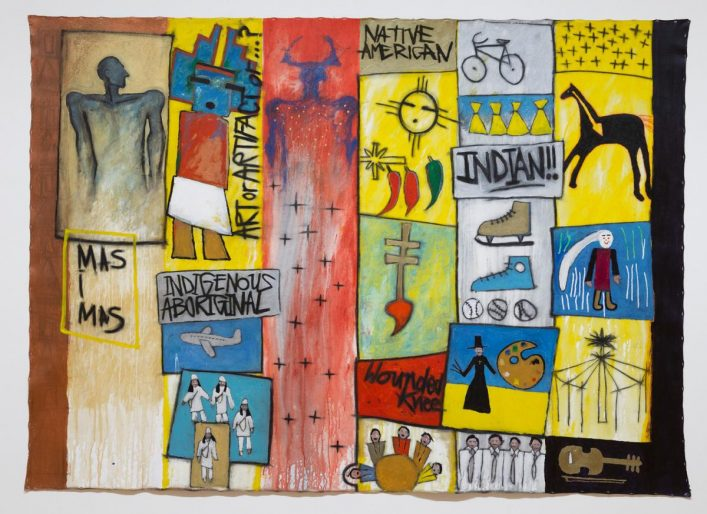 Gerald McMaster, niya nêhiyaw, 1993,acrylic and graphite on unstretched canvas.Agnes Etherington Art Centre. Purchase,Chancellor Richardson Memorial Fund (38-039)