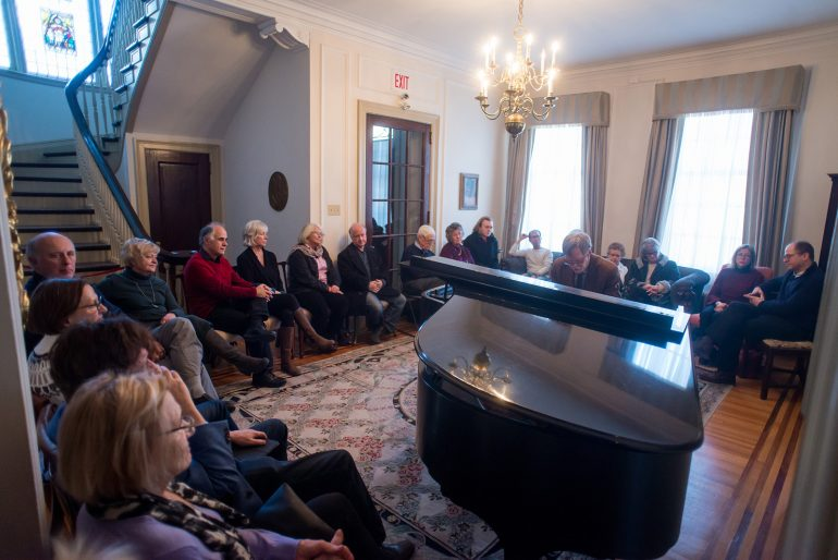Celebrated composer and pianist, John Burge, delights attendees to INSIDE AGNES, Winter 2019. Photo: Garrett Elliott